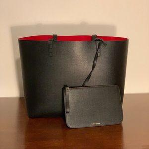NWT Mansur Gavriel Saffiano Large Tote Black/Red